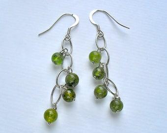 Peridot and Sterling Silver Semi-Precious Waterfall Navette Hook Earrings