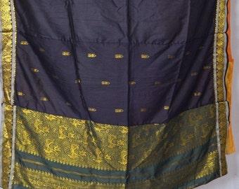 Saree curtain curtains drape window treatment panel vintage recycled Indian boho wedding decor C396