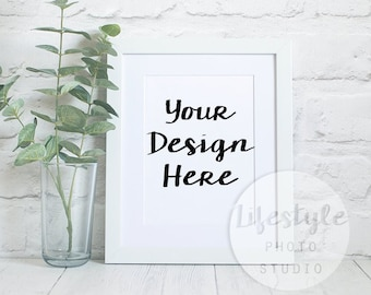 White Frame Mockup  / Styled Frame Mock Up / Blank Art Background Brick / Landscape + Portrait / Botanical Greenery