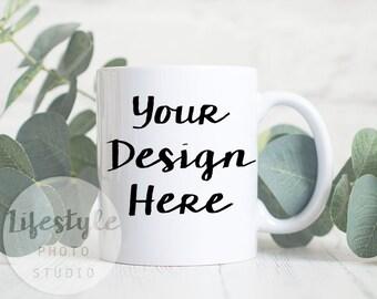 Mug Mock Up / Styled Stock Mug Photograph / Blank Mug Background / White Mug Botanical Eucalyptus Greenery