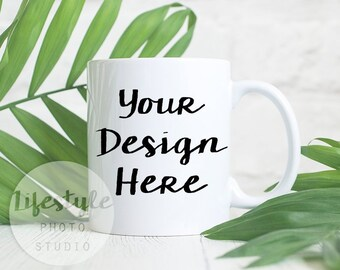 Mug Mock Up / Styled Stock Mug Photograph / Blank Mug Background / White Mug Palm Leaves