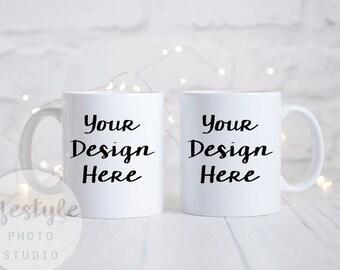 Mug Mock Up / Styled Stock Mug Photograph / Blank Mug Background / Two White Mugs Bokeh Fairylights Stock Image