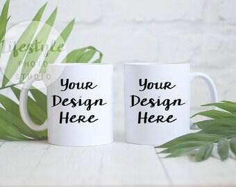 Mug Mock Up / Styled Stock Mug Photograph / Blank Mug Background / Two White Mugs Plant Palm Stock Image