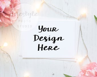 Card Mockup / Styled Card with White Envelope Mock Up / Blank Greetings Card Background / Floral Wedding