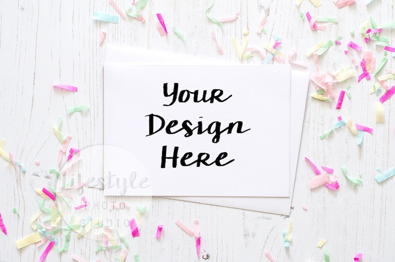 Card Stock Photography / Styled Card with White Envelope Mock image 0