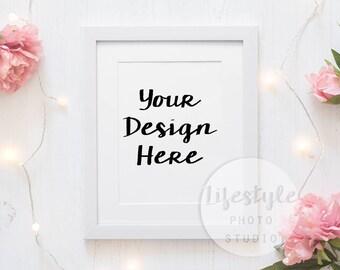 Floral Frame Mockup Stock Photography / Styled Frame Mock Up / Blank Art Background / Pink Flowers & Fairy Lights