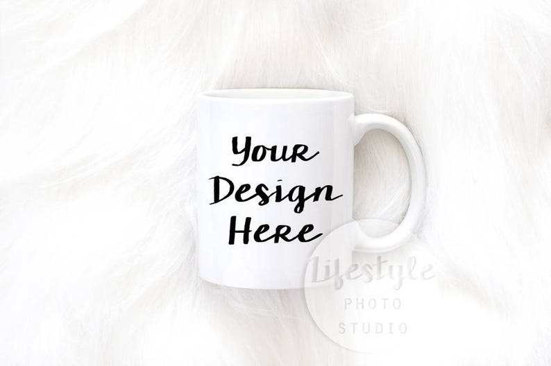 Mug Mock Up / Styled Stock Mug Photograph / Faux Fur Mug image 0