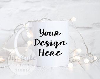 Mug Stock Photography / Styled Mug Mock Up / Blank Mug Background /Fairy Lights Sparkle Festive