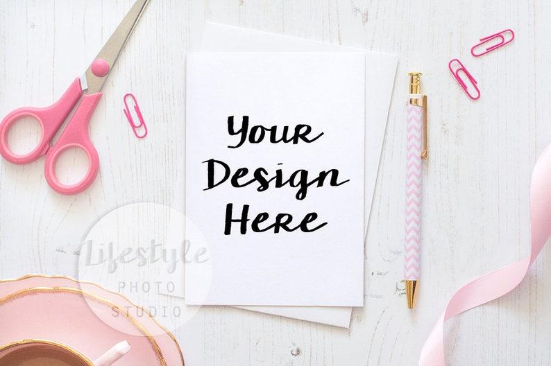 Card Mockup / Styled Card with White Envelope Mock Up / Blank image 1