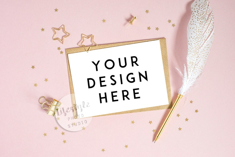 Greetings Card Mock Up with Gold Star Stationery and Pink image 0