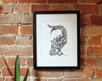 """Whale Print 8.5"""" x 11"""""""