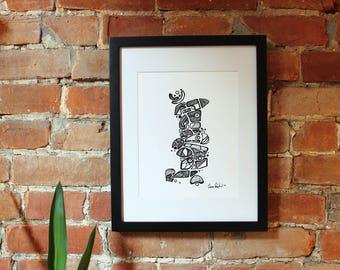 "Robot Penguin Print 8.5"" x 11"""