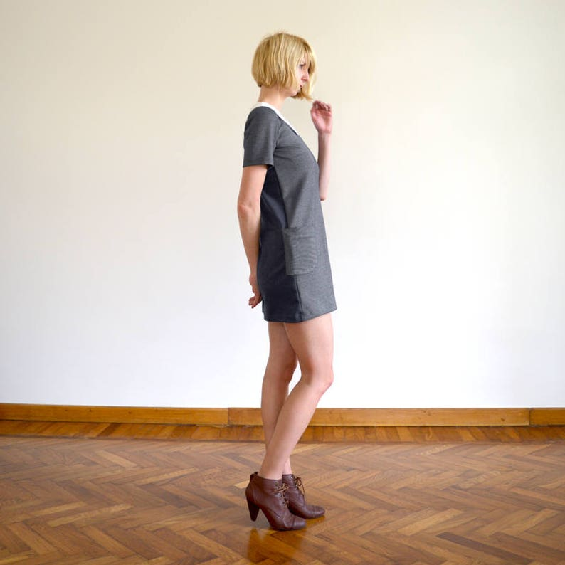 Mix Fabric 60s Collared Black Mini Dress with Pockets. SALE Dolly Two-Tone Sixties Short Sleeve Shift Dress  Spotty Collar in BlackGrey