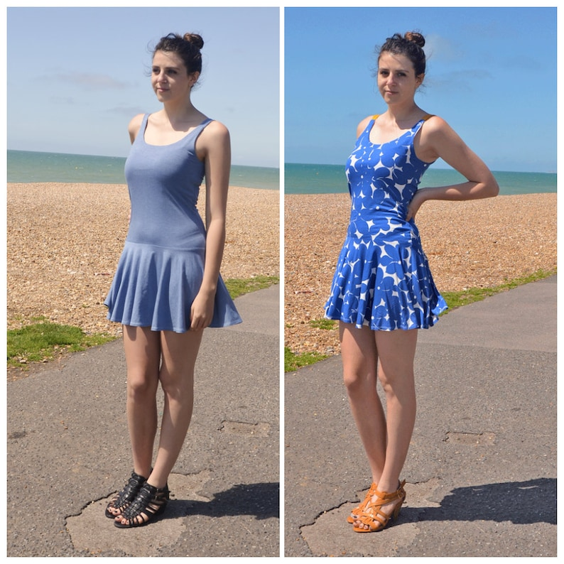 Vintage Inspired Low Waist Floral Beach Dress Strappy Mini Day Dress with Giant Floral Pattern SALE Lulu Dropped Waist Womens Summer Dress