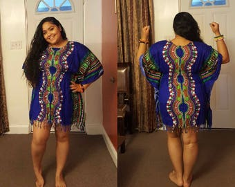 Dashiki style one-size dresses (available in several colors)