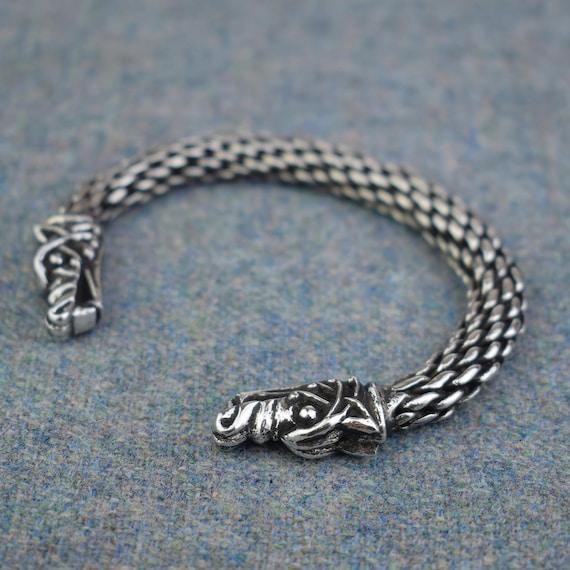Viking Jewellery Heathen Odins Wolf Terminal Bracelet Lightweight Norse Arm Ring