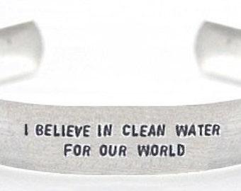 bracelet- bracelet for charity- water bracelet- i believe in clean water for our world