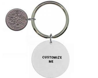 Custom Keyring- Personalised Keyring- Custom Keychain- Personalized Keychain- christmas keychain- sixpence keyring- custom christmas keyring