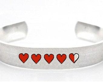 life bar- life bar bracelet- hp- heart- geek bracelet- gamer jewelry- life bar jewelry- heart bar bracelet- bracelet- gamer bracelet