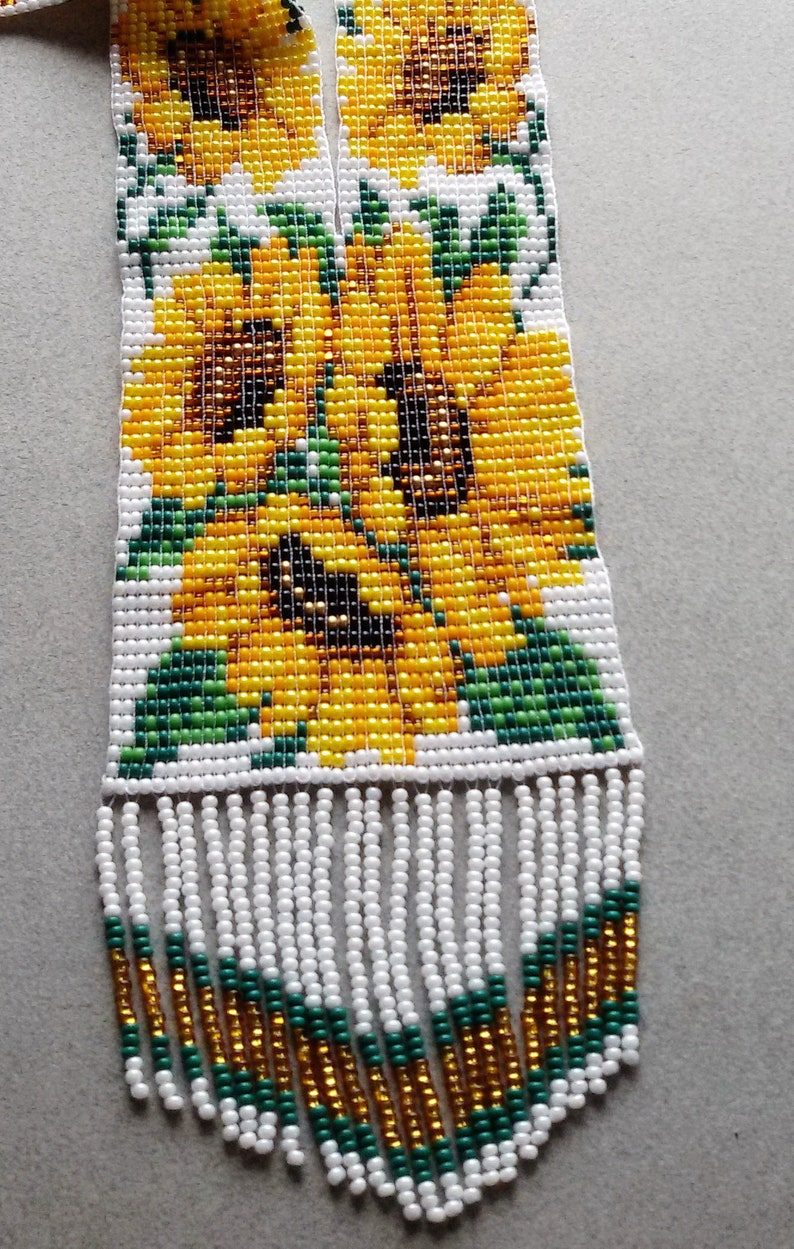 bead loom necklace yellow sunflower jewelery set 2 pieces necklace and earrings gerdan native american style
