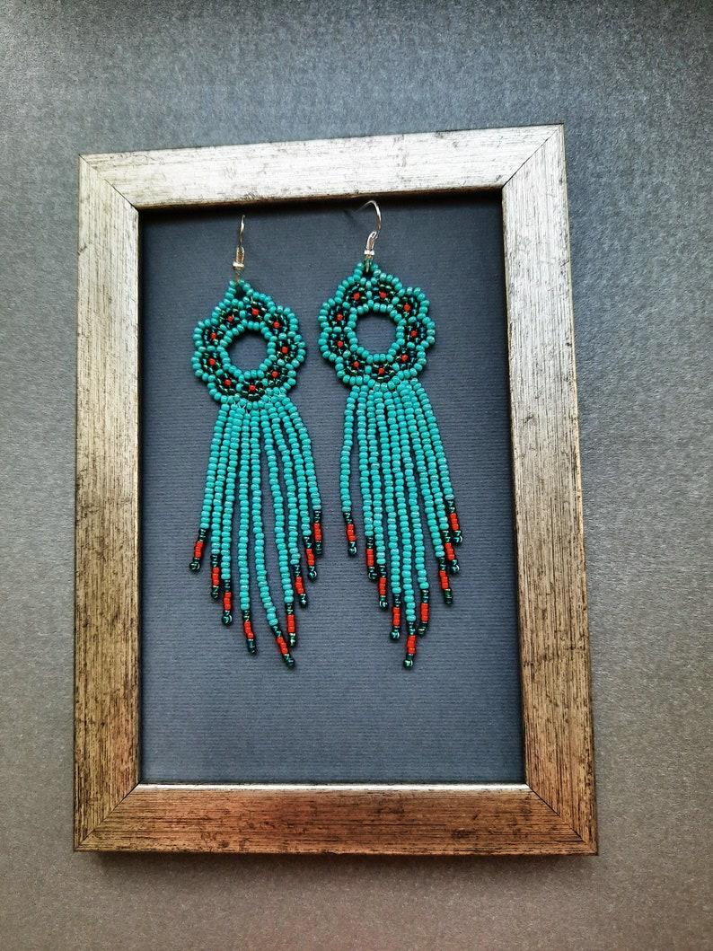Handmade bridesmaid turquoise red beadwork fringe beaded earrings  in native american style wedding