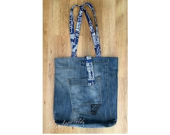 c59c675677e Denim jeans tote bag, shopping bag with pockets