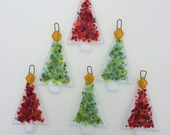set of 6 red and green fused glass christmas tree decorations ornaments - Glass Christmas Decorations