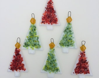 set of 6 red and green fused glass christmas tree decorations ornaments