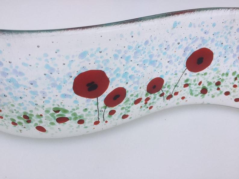 Poppy wave meadow glass wave red flower suncatcher