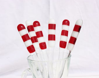 Set of six red and white candycane fused glass swizzle sticks, cocktail stirrer, drink stirrer