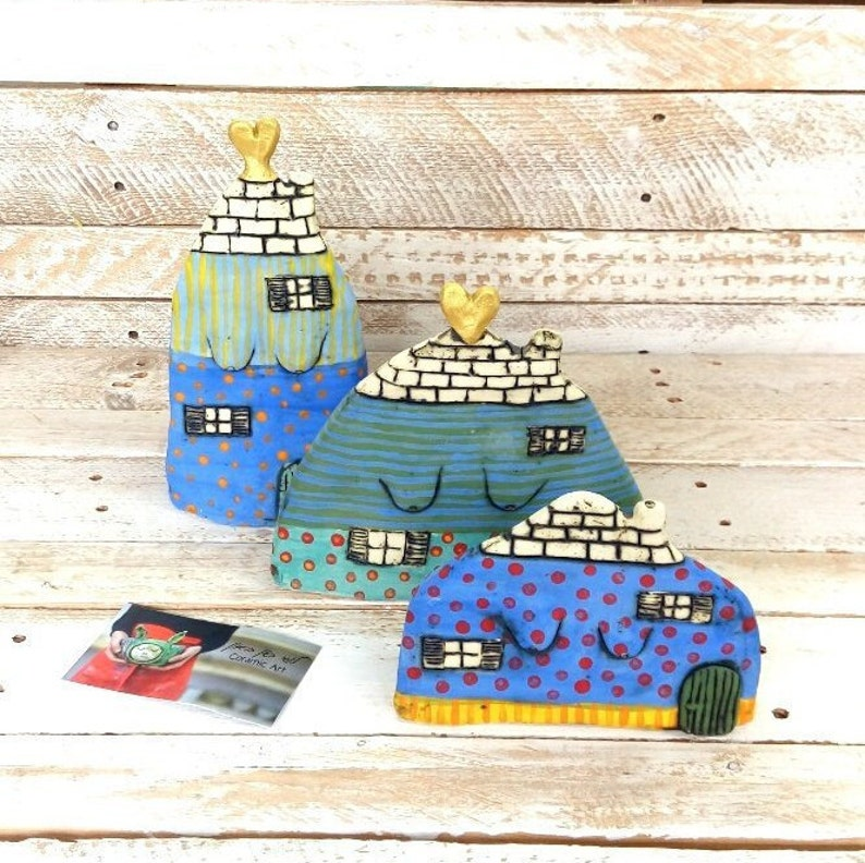 whimsical art. ornament colorful ceramics colorful house home decor quirky art Miniature ceramic house gift for new home clay house