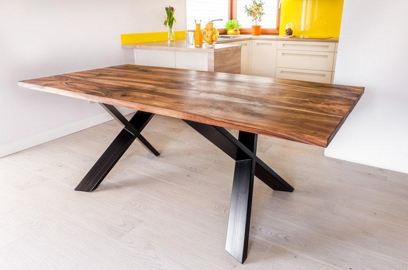 Mesa comedor nogal real hecha a mano mesa Industrial acero X | Etsy