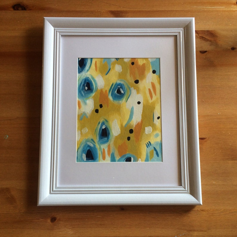 Mustard Original Acrylic Abstract Painting on canvas framed image 0