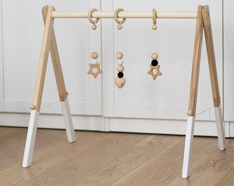 Wooden baby gym with three hangers - hanging toys | Activity gym | Baby toy | Nursery | Baby gift | Newborn gift | Natural | Wooden