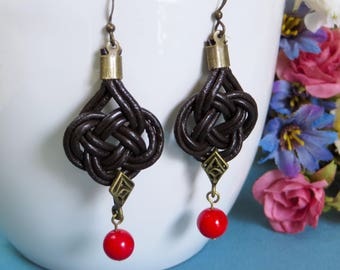 Elaborate Knotwork Beaded Earrings