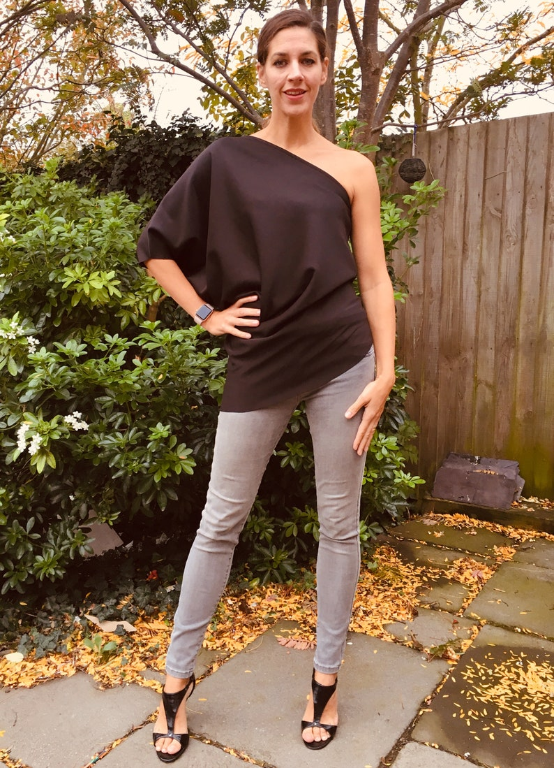 one shoulder top loose comfy Handmade cocktail top. Christmas One sleeve