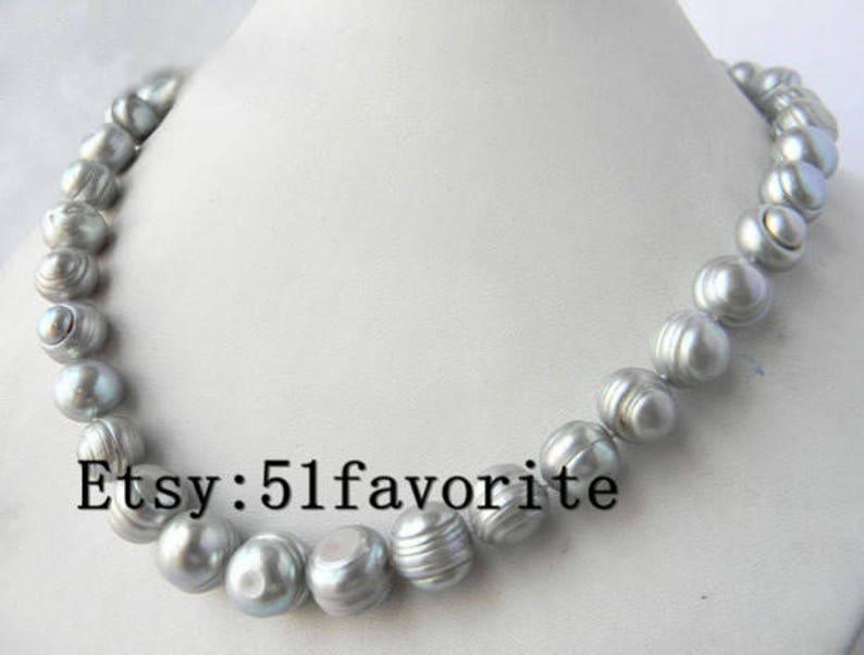 pearl necklace earrings set genuine cultued 11-12 gray pearl necklace 18 inch /& dangle earrings set