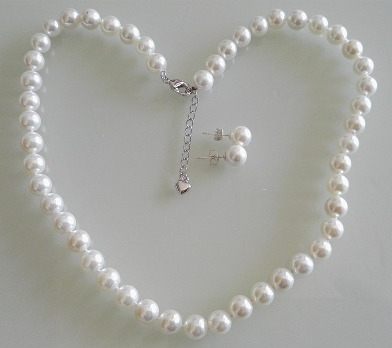 Shell pearl necklace earring set 1.5 inch extend chain stud earring set 8mm white sea shell pearl necklace 15-25 inch