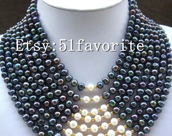 pearl necklace earrings - pretty genuine cultued 8 row 6-7mm black white pearl wedding party necklace