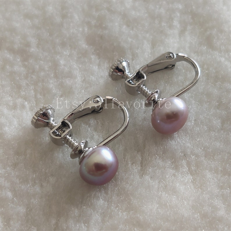 bride Bridesmaid wedding gift jewelry genuine cultured 7-8mm flat round white pink red fresh water pearl clip earrings Real pearl earring