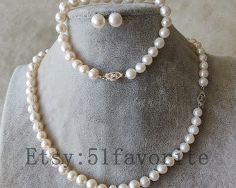Pearl set - genuine 7.0-7.5mm white fresh water pearl necklace / bracelet earrings set, pearl set, Freshwater Pearl set,girl jewelry set