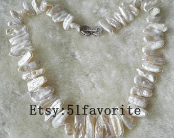 Pearl necklace- cultured white Biwa pearl necklace necklace, Baroque pearl necklace, wedding pearl necklace