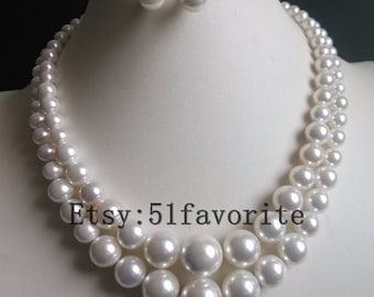 Beautiful 2 row 8-16mm tower shell pearl necklace & 10mm stud earring set