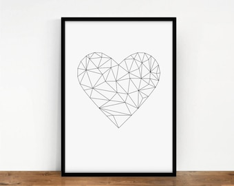 Heart Print Origami Digital Wall Art Geometric Polygon Artwork Valentines Decor Printable