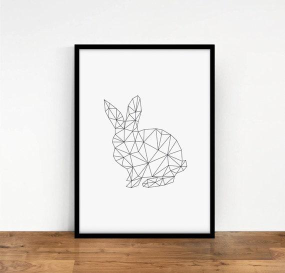 Lámina Geométrica Conejito Origami Conejo Digital Arte | Etsy