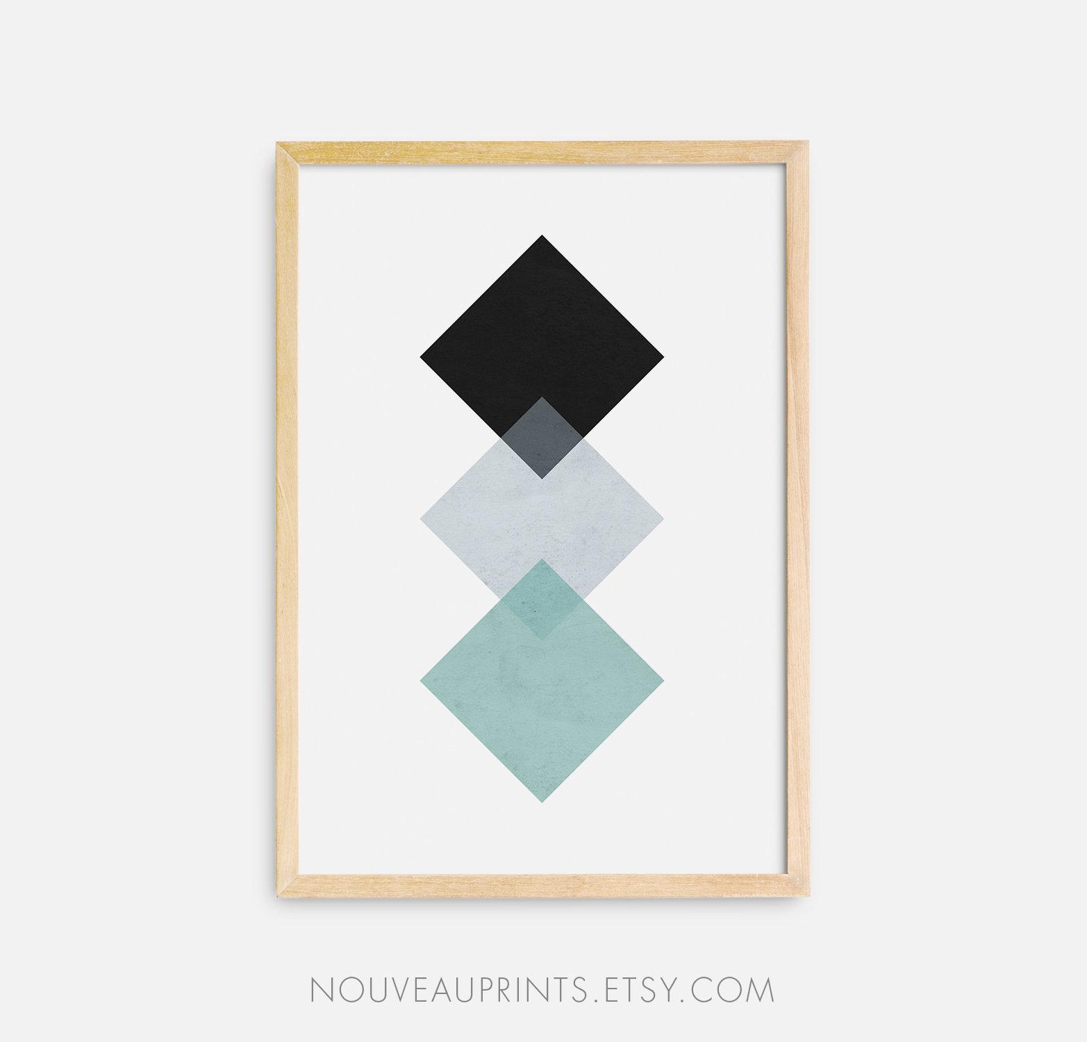 Geometric Wall Art Rhombus Wall Decor Squares Printable Art   Etsy