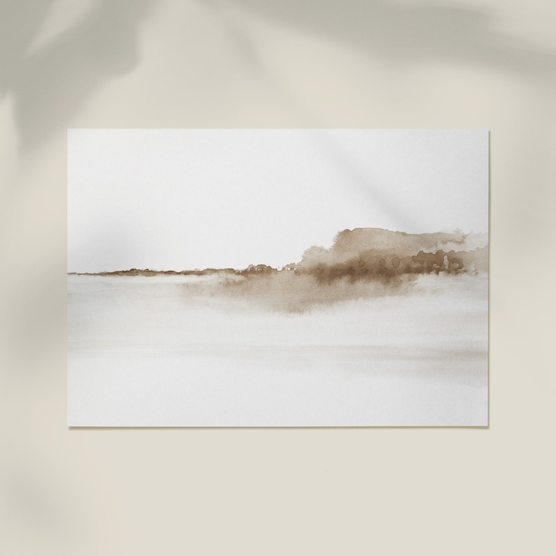 Minimalist Watercolor Neutral Watercolor Landscape Abstract Painting Printable Watercolour Horizontal Wall Art Instant Download