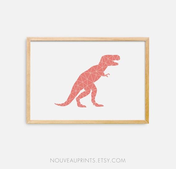picture regarding Tyrannosaurus Rex Printable titled Tyrannosaurus Rex Printable, Geometric Dino, T-Rex Massive Print, Coral Dinosaur Wall Decor, Nursery Wall Decor, Printable Artwork, Electronic Print