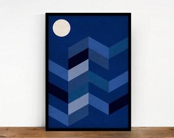 Geometric Landscape, Geometric Print, Mountains Geometric Artwork, Digital print, Geometric Wall Decor, Abstract Wall Art, Printable Art