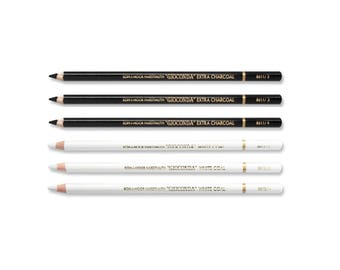 Gioconda Graditional Extra Charcoal and Whitecoal pencil set 8811 8812 Koh-I-Noor White Coal Artist Art KIN New Wooden